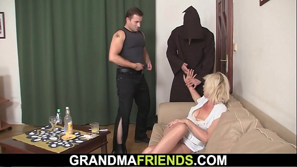 Blond, Grandmas fuck, Two cock, Two cocks, Grandma fucks, Grandma fuck