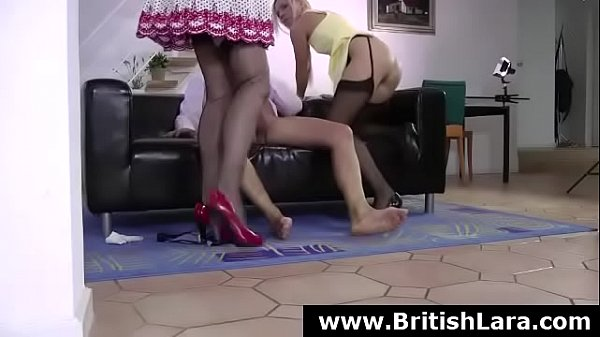 Threesome, Milf stocking, Husband friend, British milf, Stocking fuck, Milf stockings